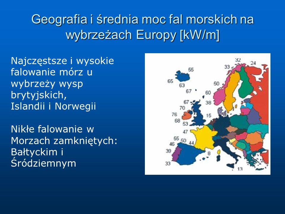 Geografia i średnia moc fal morskich na wybrzeżach Europy [kW/m]